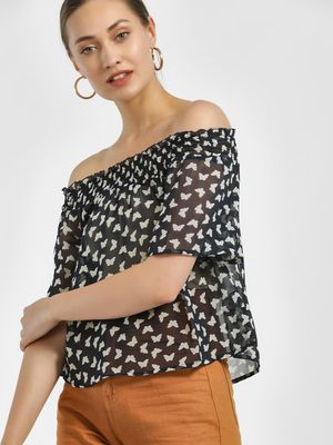 MIWAY Butterfly Printed Bandeau Top