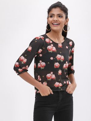 New Look Floral Print Balloon Sleeve Mesh Top