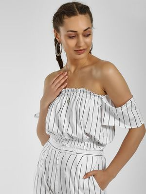 Spring Break Striped Off-Shoulder Crop Top