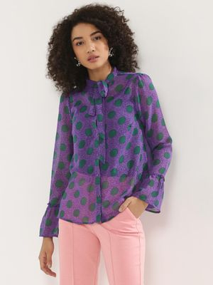 KOOVS Printed Tie Neck Blouse