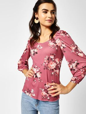 Cover Story Floral Print Sweetheart Neck Top