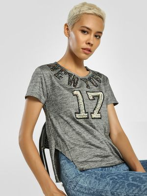 Privy League Text Embellished Cut-Out T-Shirt
