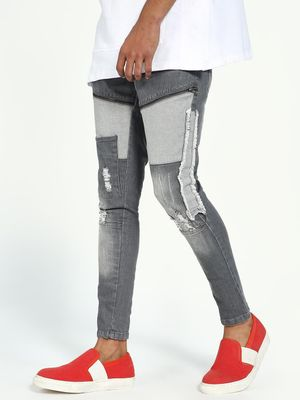 Kultprit Distressed Patch Washed Skinny Jeans