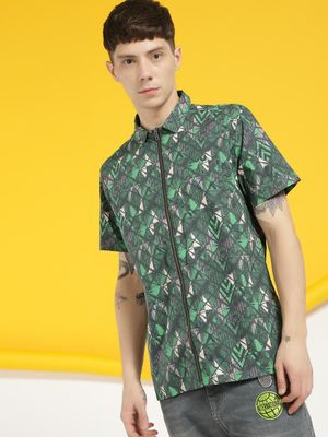 KOOVS Abstract Geometric Print Zip-Up Shirt