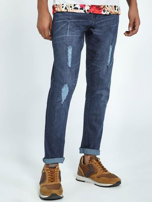 K Denim KOOVS Mid Wash Distressed Slim Jeans