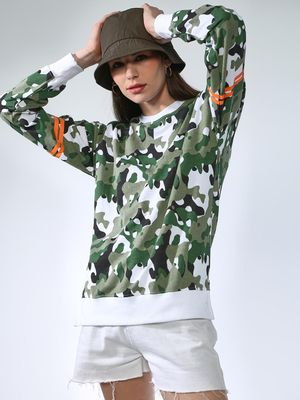 Blue Saint Oversized Camo Print Sweatshirts