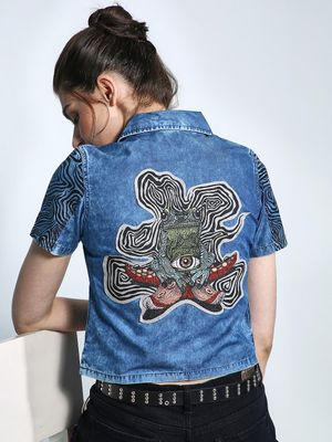 Good Stuff Back Frog Print Denim Top