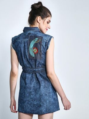 Good Stuff Back Patch Zip-up Denim Dress
