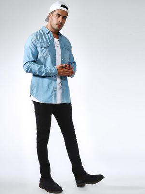 Blue Saint Twin Patch Pocket Chambray Shirt