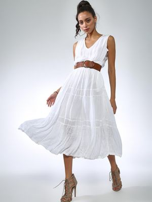 Vajor Tiered  Sleeveless Midi Dresses