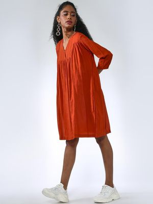 Vajor Plain Rust Midi Dresses