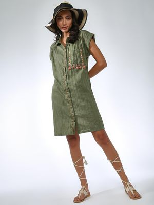 Vajor Embroidered Patch Pocket Shirt Dress