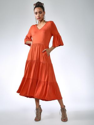 Vajor Frill Sleeves Midi Dresses