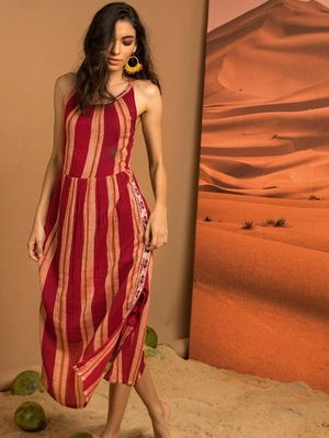 Vajor All Over Vertical Stripe Slit Dress