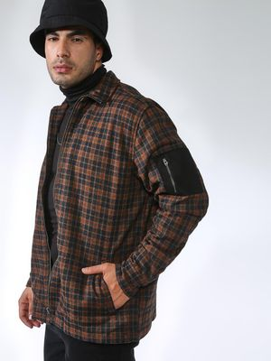 Blue Saint Check Print Turtle Neck Jacket