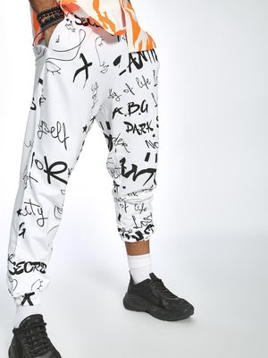 ABG All Over Text Print Slim Joggers