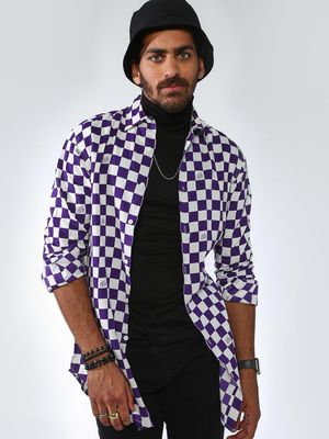 ABG All Over Check Box Printed Longline Shirts