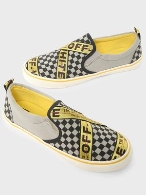 ABG Checkerboard Text Print Slip-On Shoes