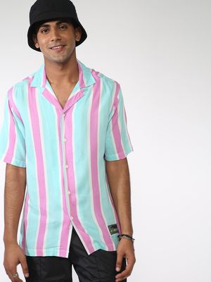 ABG Vertical Stripe Cuban Collar Shirt