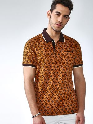 SMUGGLERZ Inc. Floral Print Patch Pocket Polo Shirt