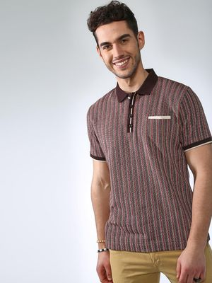 SMUGGLERZ Inc. Vertical Stripes Patch Pocket Polo Shirt