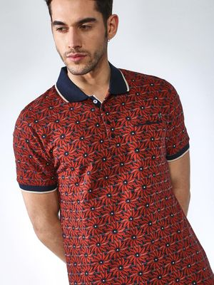 SMUGGLERZ Inc. Floral Print Muscle Fit Polo Shirt