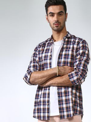 AMON Plaid Check Long Sleeve Shirt