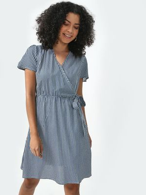 Oxolloxo Crushed Check Wrap Dress