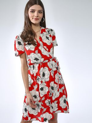 Oxolloxo Floral Print Wrap Dress