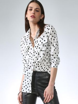Oxolloxo Polka Dot Button Casual Shirt