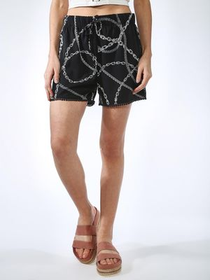 Oxolloxo Chain & Rose Print Shorts