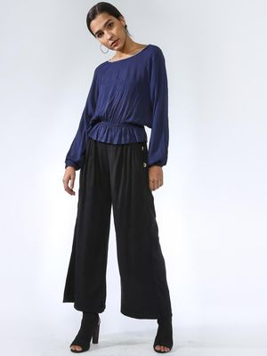Oxolloxo Side-Button Palazzo Pants