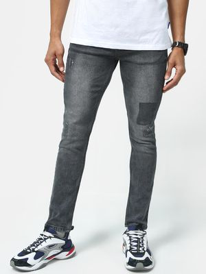 K Denim KOOVS Mid-Wash Distressed Skinny Jeans