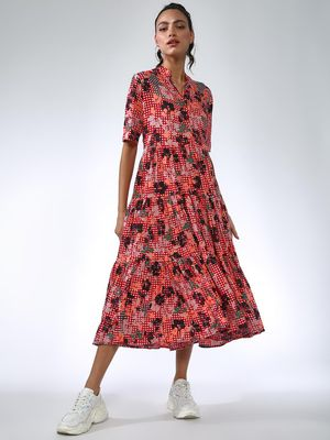 Femella Floral Button-Down Tiered Midi Dress