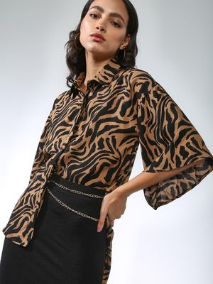 Femella Abstract Print High Low Shirt