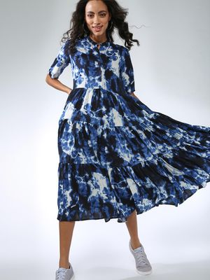 Femella Tie Dye Button Down Tier Midi Dress