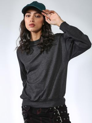 Femella Ribbed Crew Neck Relaxed Fit Sweatshirt