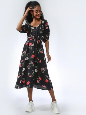 Femella Floral Button-Down Belted Midi Dress