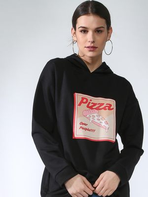 Femella Solid Graphic Print Hoodie