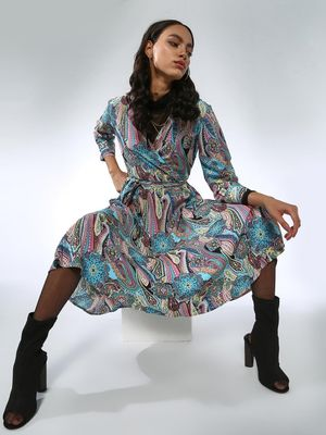 Femella Paisley Print Wrap Midi Dress