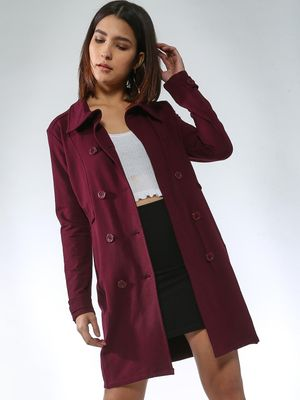 Femella Solid Double-Breasted Longline Jacket