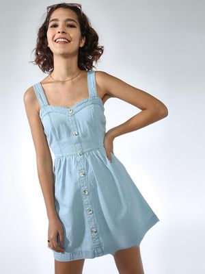 K Denim Button Down Mini Dress