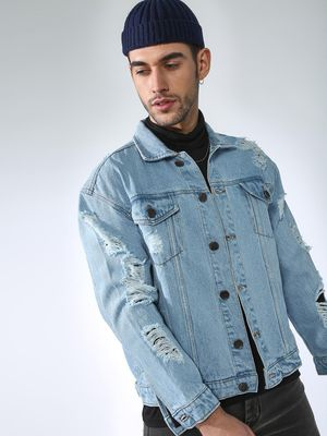 FUGAZEE Ribbed Denim Jacket
