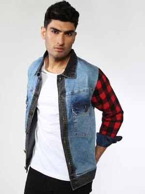 FUGAZEE Checkered Flannel Denim Jacket