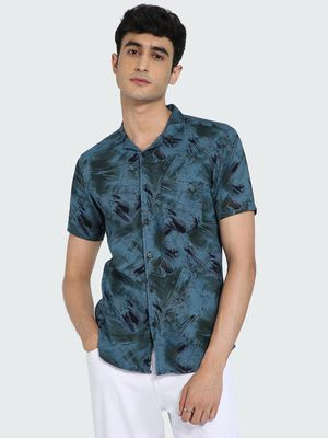 AMON Abstract Print Cuban Collar Shirt