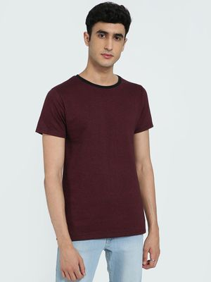 AMON Textured Contrast Crew Neck T-Shirt