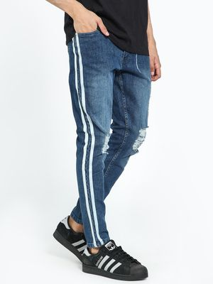 Kultprit Mid-Wash Side Tape Distressed Skinny Jeans