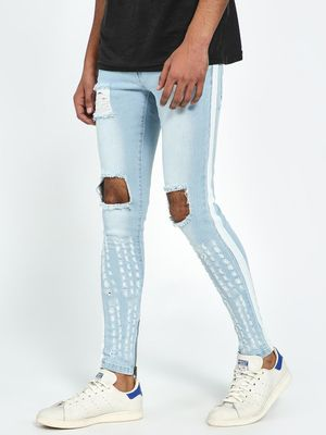 Kultprit Contrast Tape Ripped-Knee Washed Skinny Jeans