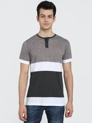 IMPACKT Colour Block Panel Henley Neck T-Shirt