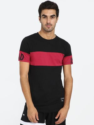 Kultprit Colour Block Text Print Sleeve T-Shirt